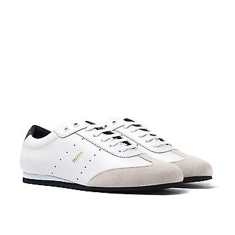 BOSS Lighter Lowp NASD White Leather Trainers