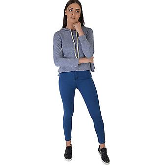 Lovemystyle Blue Hooded Jumper With Peplum Hem