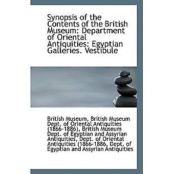 Sinopsis de los contenidos del Museo británico: antigüedades de Departamento de Oriental: egipcia Galleri