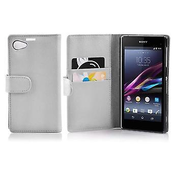 Cadorabo Hülle für Sony Xperia Z1 COMPACT -Handyhülle aus strukturiertem Kunstleder mit Standfunktion und Kartenfach – Case Cover Schutzhülle Etui Tasche Book Klapp Style