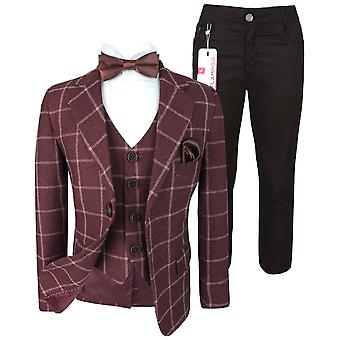 Flamingo Boys Modern fit Check Suit in Maroon