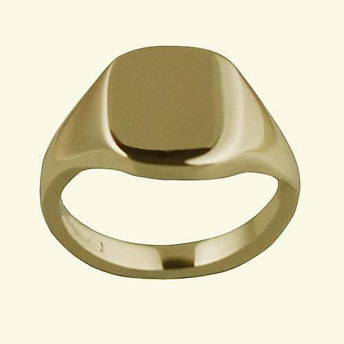 18ct yellow gold ladies and boys plain cushion signet 12x10mm