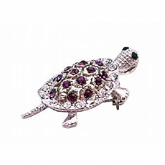 Inexpensive Turtle Brooch Pin & Pendant in Sparkling Amethyst Crystals