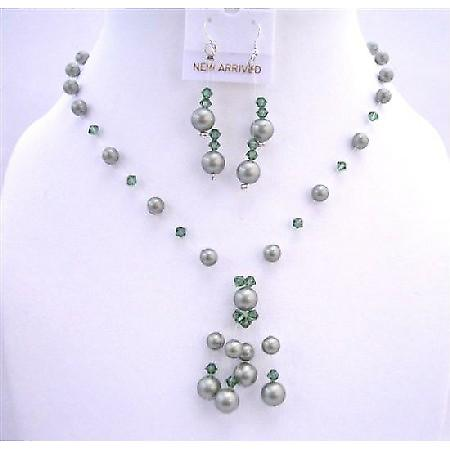 Custom Powder Green Pearls Turmarine Green Crystals Swarovski Tassel