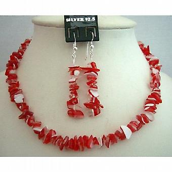 Handcrafted Red & White Stone Chip Necklace w/ Genuine Sterling Silver Earrings Custom Jewelry (BRAND NEW)