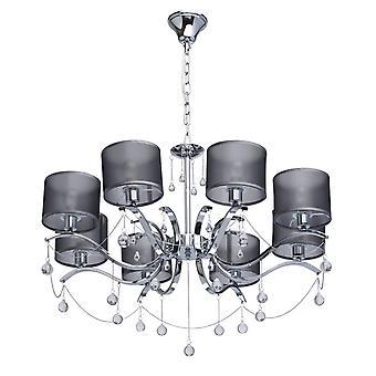Glasberg - Chrome åtta ljus hängsmycke med glas droppar och grå nyanser 379019108