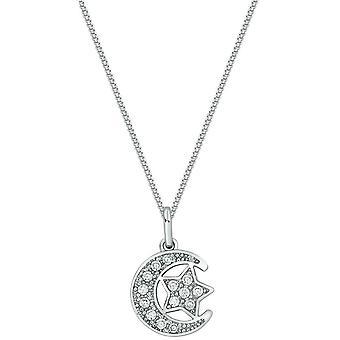 Bella Cubic Zirconia Moon and Star Pendant - Silver