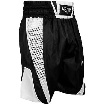 Venum Mens Elite Boxing Trunks Polyester Drawstring Shorts - Black/White