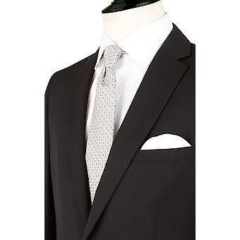 Dobell Mens zwart pak jasje op maat Fit Notch revers