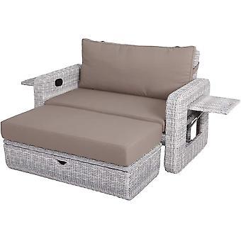 Cozy Garden Baia de Sancho verstelbare loungebank + voetenbank - wit