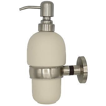 Solid Wood and Zamak Wall Mounted Grip + Liquid Soap Ceramics Dispenser