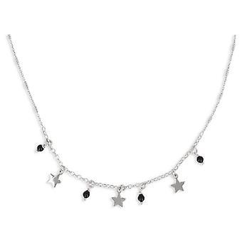 Collier Argent Rhodié Pampille Avec Boule émaillée Et étoile 40+5cm