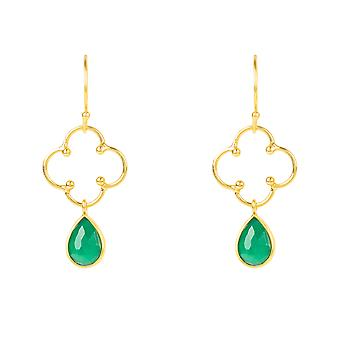 Latelita Clover Gemstone Drop Boucle d'oreille Gold Green Onyx Hook Dangle Argent 925