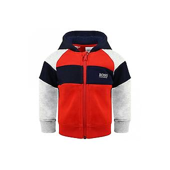 Hugo Boss Boys Red, Grey And Navy Mesh Panelled Style Tracksuit