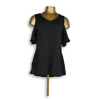 Isaac Mizrahi Live! Women's Top Cold Shoulder Peplum Negro A303176