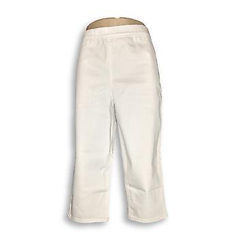 Susan Graver Women's Pants High Stretch Slub Twill Pull-On White A304403
