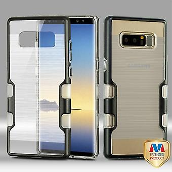 MYBAT Metallic Black/Transparent Clear TUFF Brushed Panoview Hybrid Protector Cover  for Galaxy Note 8