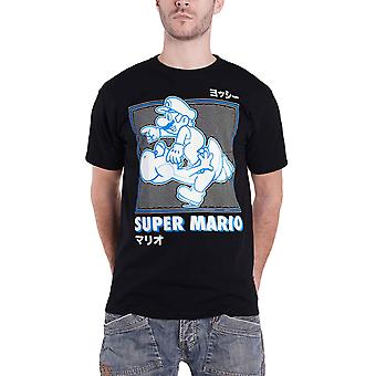 Super Mario T Shirt läuft mit Yoshi neue offizielle Nintendo Herren Schwarz