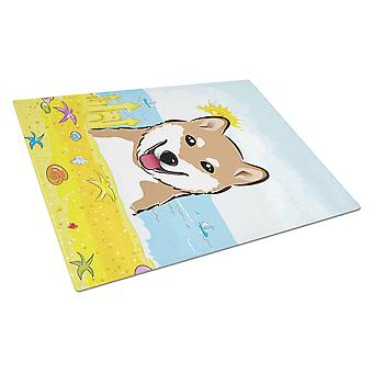 Shiba Inu Summer Beach Glass Cutting Board Large BB2093LCB