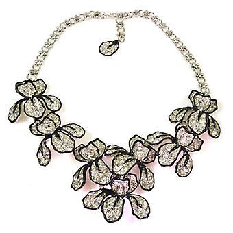 Kenneth Jay Lane Large Crystal Iris Flower Necklace