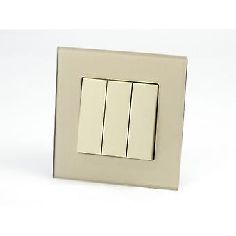 I LumoS AS Luxury Gold Crystal Glass  Single Frame Rocker Light Switches