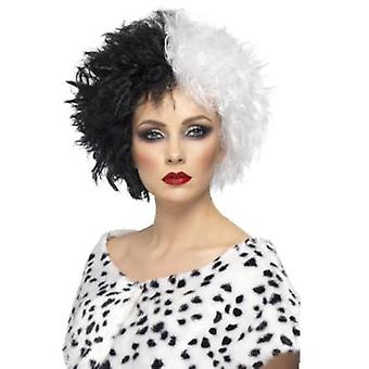 Smiffys Evil Madame Wig Black And White Short Curly (Kostuums)