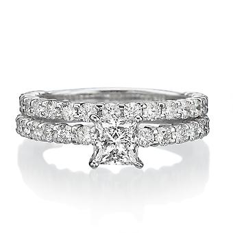 3 1/3 Karat F SI2 Diamant Verlobungsring 14k Weißgold Bridal Set Engagement Set Princess Schliff