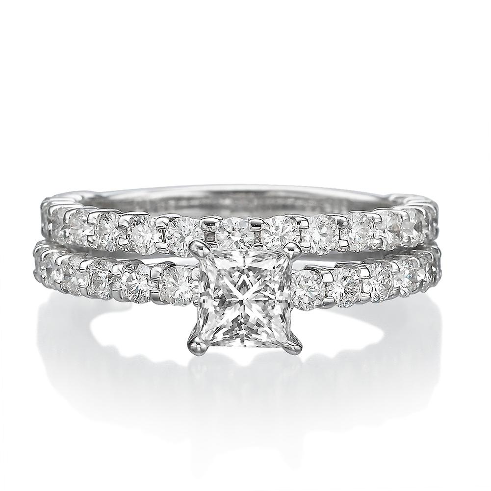 3 1 5 carat G SI2 Diamond Engagement Ring 14k or blanc Bridal Set Engagement défini Princess cut
