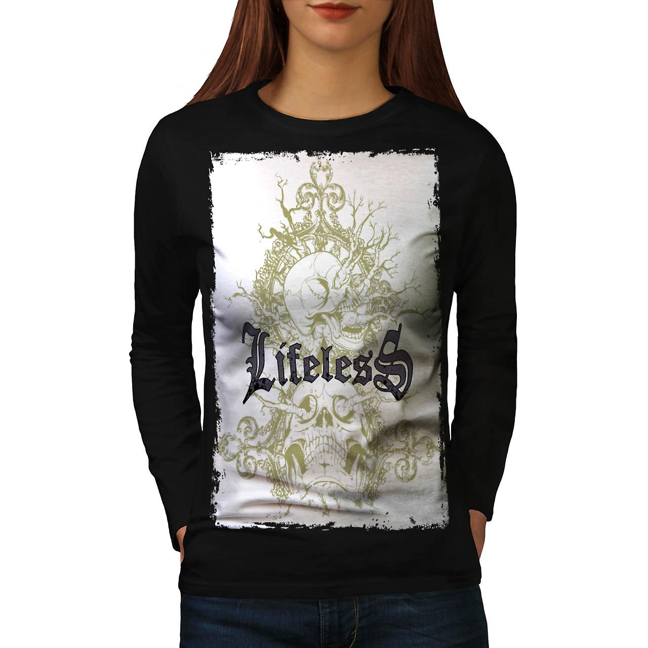 Lifeless Gothic Skull Women Black Long Sleeve T-shirt | Wellcoda