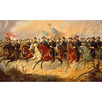 Restaurato digitalmente pittura vettoriale di Ulysses S Grant e i suoi generali Poster Print