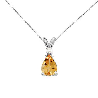 14k White Gold Pear Shaped Citrine and Diamond Pendant with 18