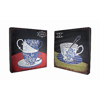 Conjunto de 2 Floral Toile Bistro de xícara de chá e café de madeira hangings da parede