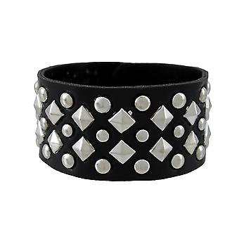 Black Vinyl Wristband with Chrome Pyramid and Round Studs