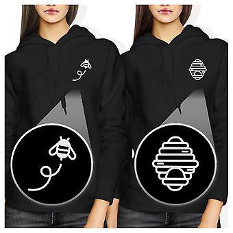 Pente do mel e a abelha bolso Hoodies BFF correspondência camisolas com capuz