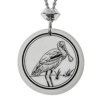 Handmade Roseate Spoonbill Totem Round Shaped Porcelain Pendant