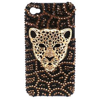 W.A.T Black And Gold Crystal Iphone 4 Cover With Panther Head