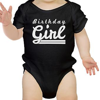 Birthday Girl Gift Baby Onesie Cotton Black Easy Snap-On Fasteners