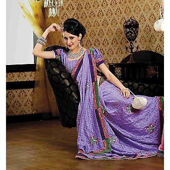 Deepti Mauve Faux crêpe luxe Party Wear Sari saree