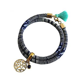 Women - bracelet - bracelet - gold plated - tree of life - AZTEC - sapphire - blue