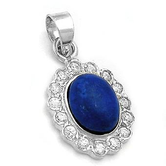 Royal Blue hänge oval med cubic zirconia / Lapis halsband 925 Silver