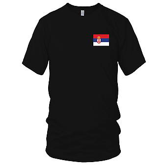 Serbien Land Nationalflagge - Stickerei Logo - 100 % Baumwolle T-Shirt Kinder T Shirt