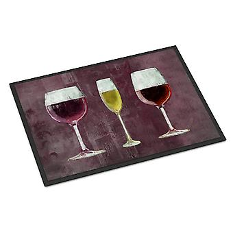 Drei Gläser Wein lila Indoor oder Outdoor Mat 24 x 36