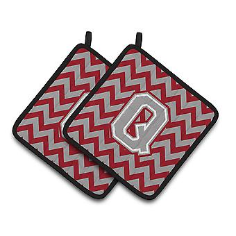 Letter Q Chevron Crimson and Grey   Pair of Pot Holders