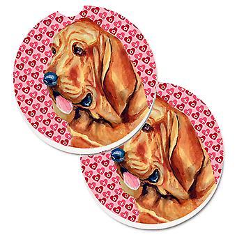 Bloedhond harten liefde en Valentijnsdag portret Set van 2 Cup houder auto COA 's