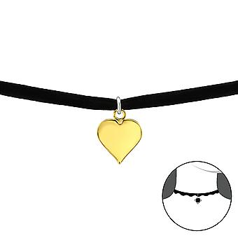 Heart - 925 Sterling Silver + Velvet Chokers - W33984x