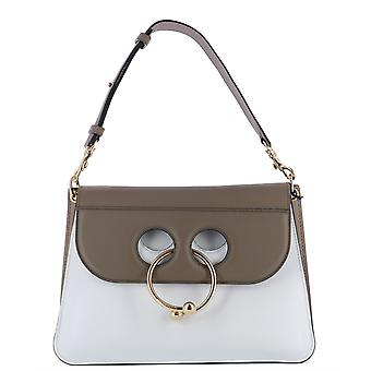 J.W.. Anderson women's HB02WP17404004 white / brown leather shoulder bag