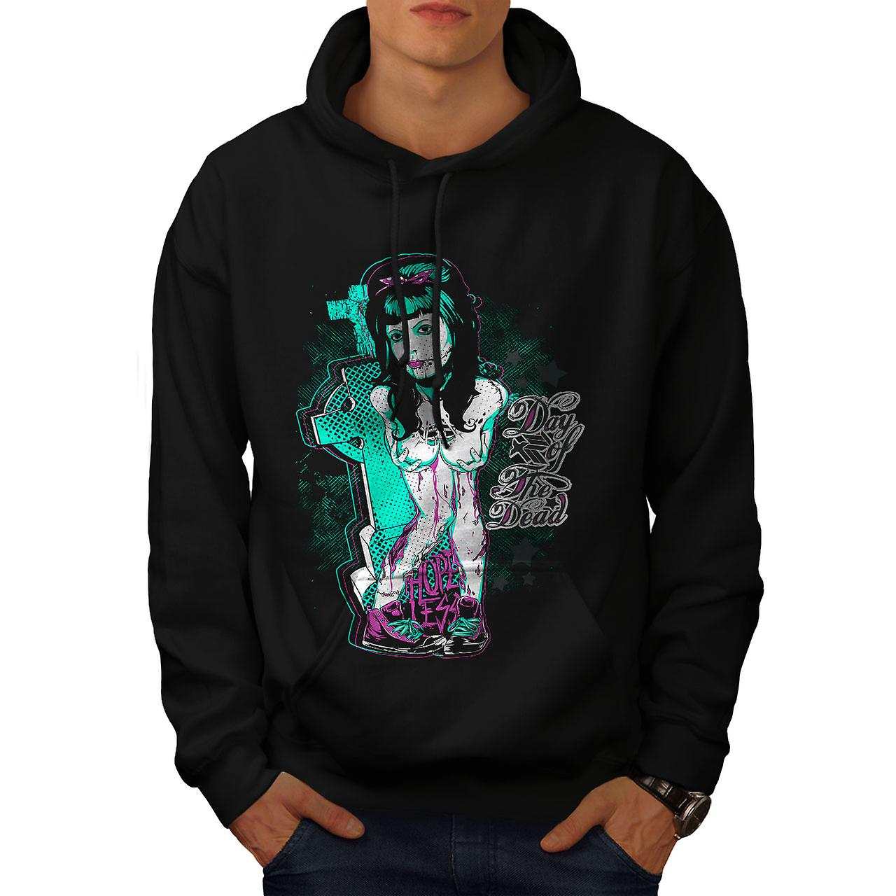 Day Of Dead Emo Zombie Men Black Hoodie | Wellcoda