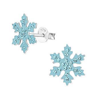 Snowflake - 925 Sterling Silver Crystal Ear Studs - W33670x
