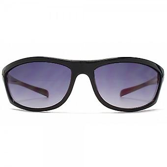 FCUK Small Sports Wrap Sunglasses In Black On Red