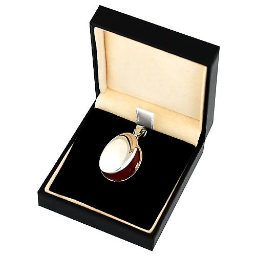 18ct White Gold 27x20mm plain oval Locket